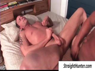 Two gay hunks in bed pounding the ass and spastic off his bushwa