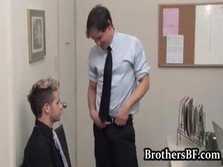 Brad fucking together with wanking in the office