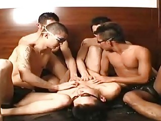 A Japanese gay orgy delight