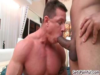 Mature muscle guy sucking unscrupulous cock part5