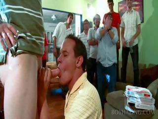 Fresher Brobdingnagian blowjob to joing fraternity