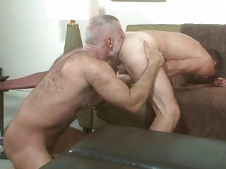 Two older gay hunks licking each others ass