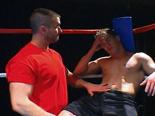 Fisticuffs jocks get nasty in the ring up ahead blowing loads on each other...
