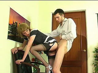 Upskirt gay coward in soft nylons giving head and getting banged from...