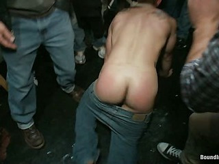 Essential ripped stud gets humiliated and used round a crowded public bar.