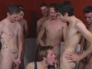 White guys in blowjob orgy