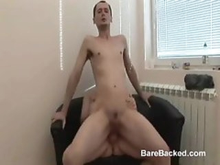The cock in his asshole fills him with cum