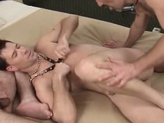 Kinky and fetish threesome gay party with hot leather toys