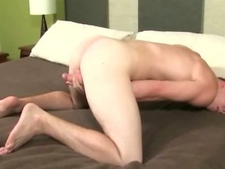 Delicious young sexy student opens his legs wide open