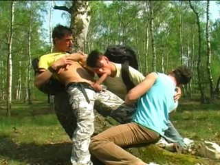 Teen campers to hardcore gay threesome outdoors