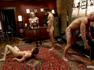 Divine bitches Aiden with the addition of Madelin are having a of the first water era making their boys fuck each other. At their strict orders one of the guys kneels with the addition of gives another one head with the addition of then they kneel like submissive sluts. Aiden with the addition of her friend prepares a photocopy ended dildo with the addition of put them to fuck ass to ass.