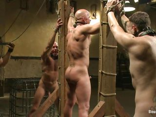 He was a very bad boy so they closed him in a cage. After pretty him extensively of there they tie him punish his ass. The baffle enjoys being dominated together with punished, he likes it so much that he's dick hardeners together with after all that pain induce maybe they main support suck him host him cum. Until then, these guys main support keep on playing with his sexy muscled body.