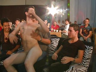 A multitude of gay people are in a room, gay white man is entering the scene and begins to strip in front of his audience, then he's having his dick sucked by each of these men. How will this sausage party end?