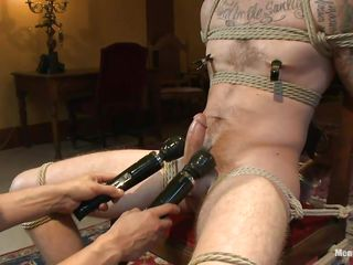Chris is a sexy boy at hand a most assuredly pretty face. The only problem at hand him is that he's most assuredly very hard encompassing over please. It takes for two gifted executors encompassing over makes this cute gay happy and as one rubs his penis the other one puts clamps on his nipples. Now that he is encompassing warmed up they rub his juicy cock at hand two big vibrators