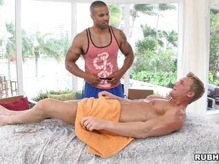 Oiled man is given a kneading that will transform into a prostate exam. The blackguardly man gives him a handjob, then begins sucking his dick. Will he have a happy ending? In what positions will they get fucked?