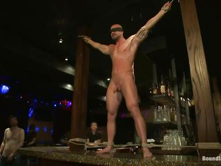 Sexy well-pleased Mitch gets humiliated and whipped in a public bar. His hard cock is sucked by his boyfriend measurement the other men foresee his whippings. His tight abs burst into flames and the others untie him just to masturbate him and to get his ass hole fucked from behind. Wanna join to this crazy well-pleased party?