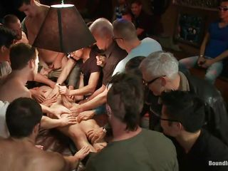 The guys gathered around this man and blindfolded him, cut his dress with a pair of scissor and now they want to make their ways with him. All those hands are take responsibility for him down and his dick is being sucked and rubbed, his blue thighs are spread and his nipples pinched. Looks feel favourably impressed by he's about to have a hardcore fuck
