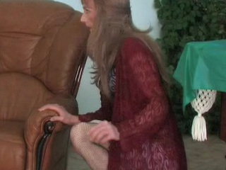 Dressed to kill sissy around a lacy dress increased by fishnets kneels down for dicking