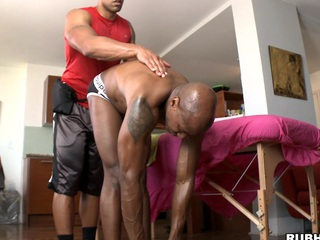 Chocolate guy is getting for detail oil massage and big cock almost his botheration