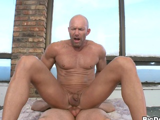 Bald mature man gets fucked by his old boyfriend in his parsimonious asshole.