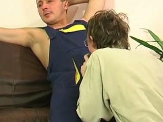 Gay plumber uses his grown pipe to fill a straight guy's mouth and firm booty