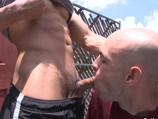 Sexy Asian gay treats his new boyfriend outdoor with an eastern hard dick.