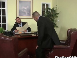 Uniformed gay office hunk pounding pest